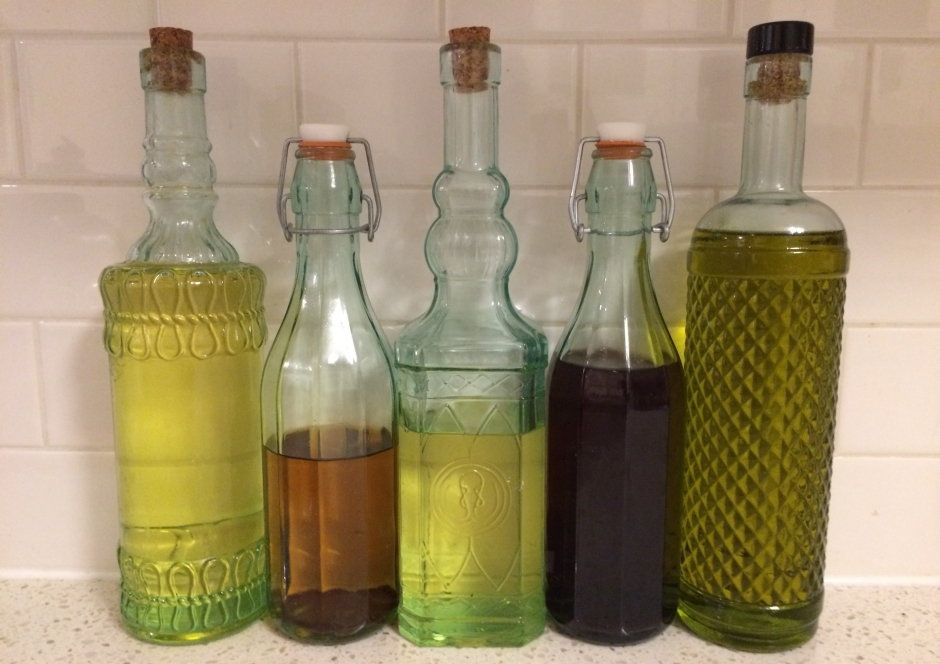 bottles of oil and vinegar